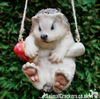 Hanging Hedgehog on rope tree garden ornament decoration Hedgehog lover gift