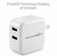 BlitzWolf® BW-S3 4.8A 24W Dual USB Travel Wall US Charger Power3S Tech iPhone US