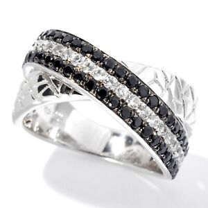 Pinctore Platinum over Sterling Silver Black Spinel and White Zircon Animal Pri