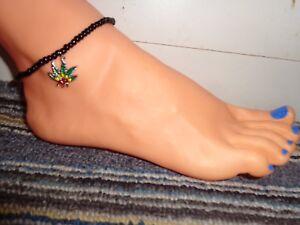 POT weed marijuana silver charm ankle bracelet beads stretchy enamel