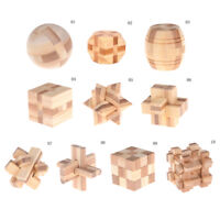 IQ Brain Teaser Kong Ming Lock Wooden Interlocking Burr 3D Puzzles Game Toy A8A