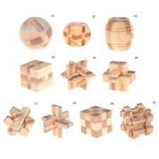 IQ Brain Teaser Kong Ming Lock Wooden Interlocking Burr 3D Puzzles Game Toy TK