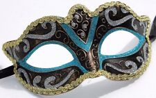 TURQUOISE BLACK BRONZE & GOLD STUNNING VENETIAN  MASQUERADE PARTY EYE MASK NEW