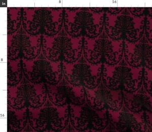 Ornate Damask Black Baroque Gothic Victorian Goth Spoonflower Fabric by the Yard