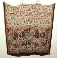 "Vintage 90s Rectangular Silk Scarf Brown Floral Extra Large Long 98"" x 47"" Boho"