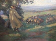 Eugen von Warun-Sekret 1896-1963 Frankfurt / Gemälde Schäfer mit Herde signiert