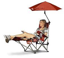 Sport-Brella Recliner Outdoor Camping Beach Picnic Folding Chair, Red, Umbrella