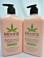 2 Hempz Blushing Grapefruit And Raspberry Creme Moisturizer Lotion 17oz Bottles
