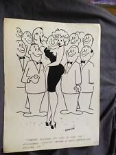 HUMORAMA original art 1958 girlie cartoon heaving breasts at party gag TIMELY