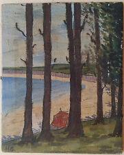 Atlantida. Original Oil on Canvas Miniature Painting Signed H. S. Uruguay