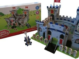Chad Valley Large Wooden Knights Castle Children's Play Set Includes Figures NEW