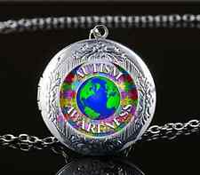 Autism Worldwide Photo Cabochon Glass Tibet Silver Locket Pendant Necklace