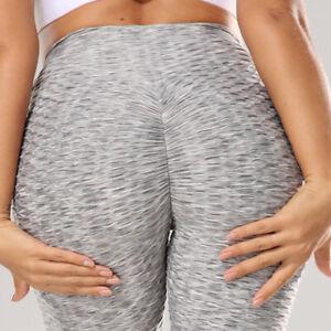 Women Anti-Cellulite Yoga Pants Pockets Butt Lift Workout Shaper Ruched Leggings