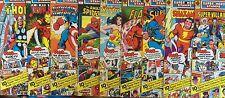 LOT OF 9 SEALED 1976 MARVEL & DC SUPER HERO STAMPS! IRON MAN! THOR! WONDER WOMAN