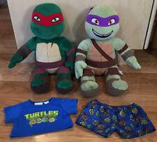 Build A Bear Teenage Mutant Ninja Turtles TMNT Raphael Donatello & Pajamas