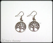 Tree of Life  EARRINGS.  Antique  SILVER Tone.  Dangle Earrings.  Vintage, Boho