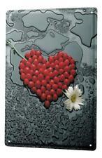 Tin Sign Fun Ravtive  Heart Strawberries rain