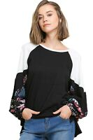 Umgee Women's Spring Cotton Top with Floral Print Puff Sleeves