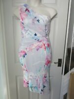 BNWT UK 12 LIPSY Dress Midi Maxi Pink Mesh Floral One Shoulder Knot Bodycon Blue