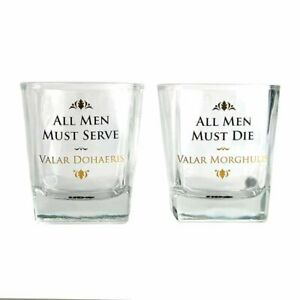 Stunning Game Of Thrones Set of 2 Glass Tumblers Sword Design H9cms Valar Boxed