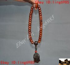 Chinese Cattle Ox horn carved Kwan-Yin GuanYin Prayer beads Bracelet