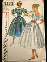 VINTAGE, RETRO, SIMPLICITY, 1957, DRESS, #2132, SIZE 11, BUST 31 1/2