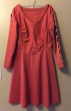 Vintage 70s Orange Polyester DRESS Open Hole Sleeves Princess Boho Hippie Sz L