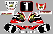 honda qr50  graphics full kit decals qr 50 stickers  number 1 red/ white