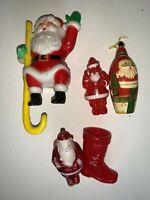 VTG 4 Santa And 1 Boot Candy Containers Hong Kong