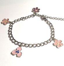 "Silver Hawaiian Island Flower Anklet Charm Bracelet Plated Plumeria 8- 10.5"""