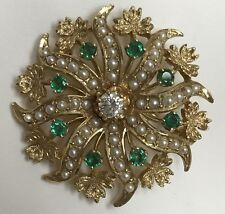 14K Victorian Reproduction Emerald, Diamond and Seed Pearl Sunburst Pin/Pendant