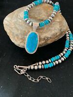 Navajo Pearls Sterling Silver TURQUOISE Bead Necklace Pendant 21in Sale  3245