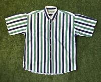 90s Vintage NATURAL ISSUE Mens 90s Stripe Shirt Large L | Short Sleeve |