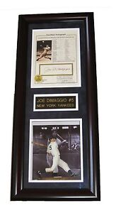MLB JOE DIMAGGIO HAND SIGNED AUTOGRAPHED FRAMED STAT PHOTO SHADOW BOX PLAQUED