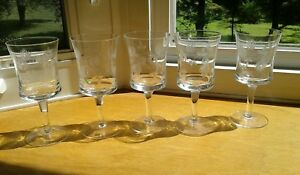 """Antique Wine Goblets 5 Etched PIne Cones Clear Glass 5 1/2"""" Tall"""