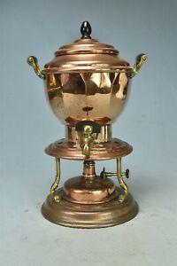 Antique HEINRICHS COPPER COFFEE TEA CARAFE with BASE & BURNER PARIS NY130 #02239