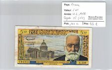 BILLET FRANCE - 5 NF VICTOR HUGO 4-2-1965