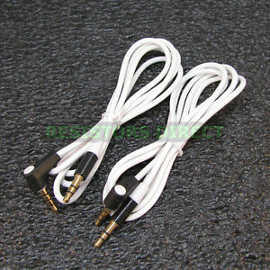 2x White High Quality Gold Plated 3.5mm Auxillary Cable Right Angle Audio S41