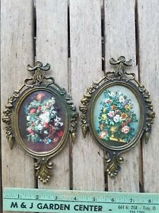 """Vintage Pair Italian Metal Ornate Oval Picture Frames Floral Glass 6.5"""""""