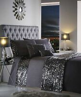 BLING SEQUINED DETAIL CHARCOAL GREY DAZZLE GLITZY DOUBLE BED DUVET COVER SET