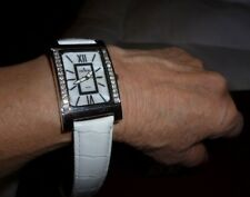 CROTON Crystals Rectangle Watch Croco Embossed White Leather Strap Silvertone