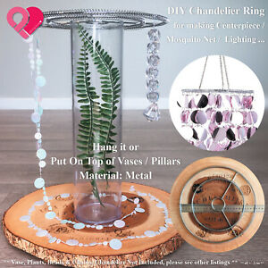 Metal Chandelier Ring Frame Centerpiece Vase Brace Hanging Crystal Ornament DIY