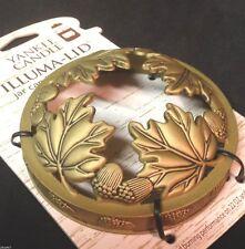 YANKEE CANDLE Gold OAK LEAVES & ACORNS Illuma Lid 14.5 22 oz Jar Topper FALL LID