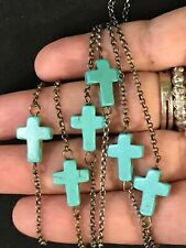 TURQUOISE CROSS ON  Long NECKLACE   - 44""
