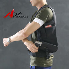 Hunting Pistol Gun Underarm Shoulder Holster Bag w/ Small Pouch for Right Hand