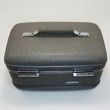 American Tourister Gray Train Case Suitcase Cosmetic Makeup Over Night Vtg