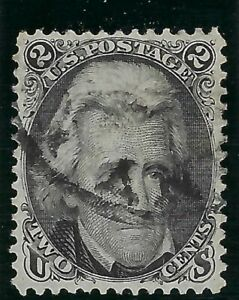 B&D: 1861-66 U.S. Scott 73 2c Blackjack, white paper, light cancel, gorgeous