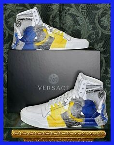 NEW VERSACE HIGH -TOP WHITE LEATHER SNEAKERS GREEK MYTHOLOGY PRINT 45 - 12