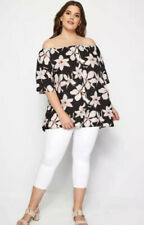 Yours Clothing Floral Button Front Bardot Top New Plus Size 26-28