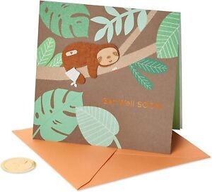 Papyrus SLOTH GET WELL SOON GREETING CARD -super cute